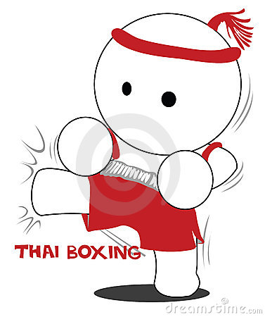 Cartoon Thai boxing and kick