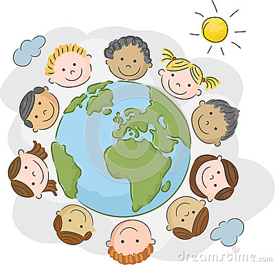 Free Cartoon The World S Children In A Circle In The World Royalty Free Stock Photography - 54299927