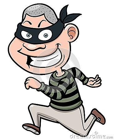 Cartoon thief running Vector Illustration