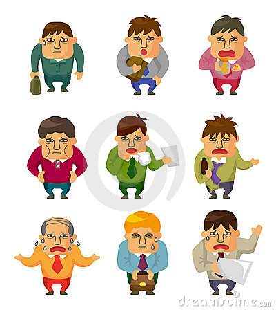 Cartoon Tired businessman