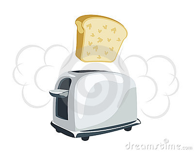 Cartoon  toaster with a toast