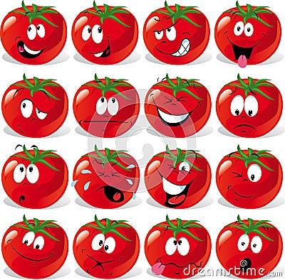 Free Cartoon Tomato With Many Expressions Royalty Free Stock Photography - 21572067
