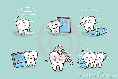 cartoon tooth with dental floss stock vector image 64977404