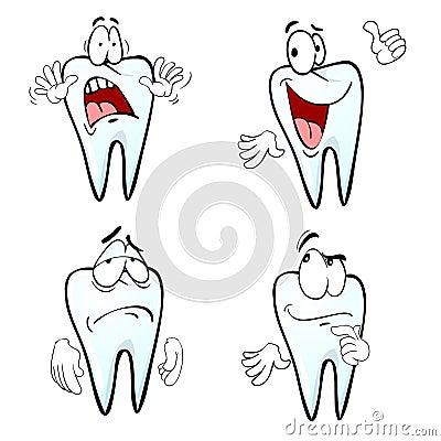 Cartoon tooth emotions