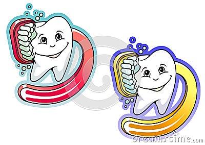 Cartoon toothbrush and paste