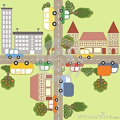 Cartoon town map.