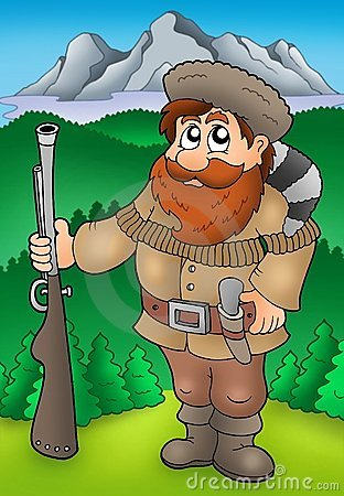 Free Cartoon Trapper With Mountains Stock Photo - 12010510