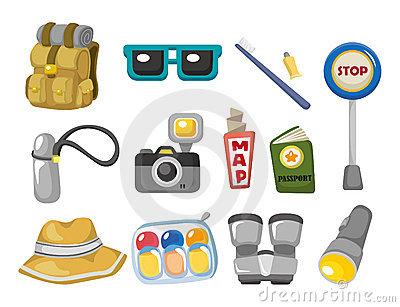 Cartoon travel icons set