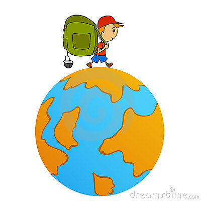 Cartoon travel man with backpack around world