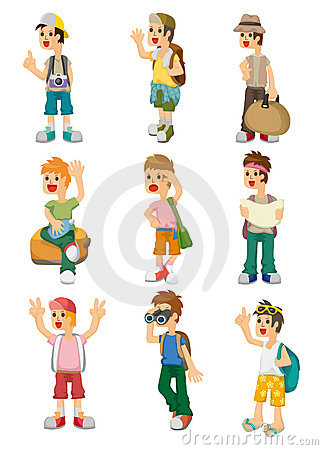 Cartoon travel people icons set