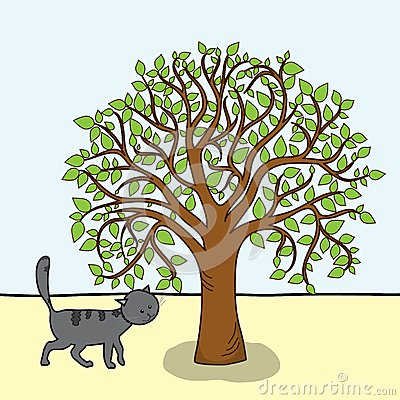 Cartoon tree and cat, vector