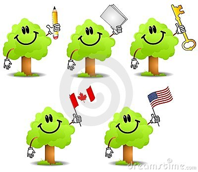 Cartoon Tree Holding Objects 2