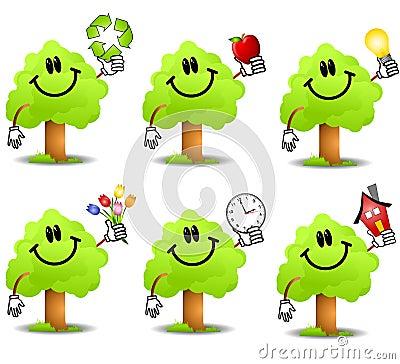 Cartoon Tree Holding Objects