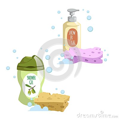 Free Cartoon Trendy Design Green And Yellow Containers Set Colorful Bath Sponges. Shower Gel. Hygiene And Body Care Stock Photos - 104463163