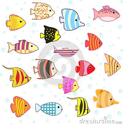 Free Cartoon Tropical Fish Set Royalty Free Stock Photo - 32549775