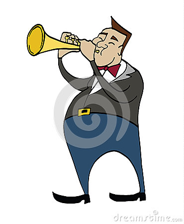 Cartoon Trumpeter. Musician Playing A Trumpet. Stock ...