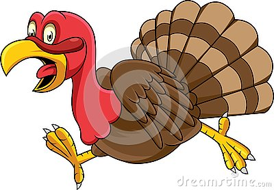 Cartoon turkey running Vector Illustration