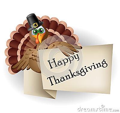 Cartoon turkey with thanksgiving label