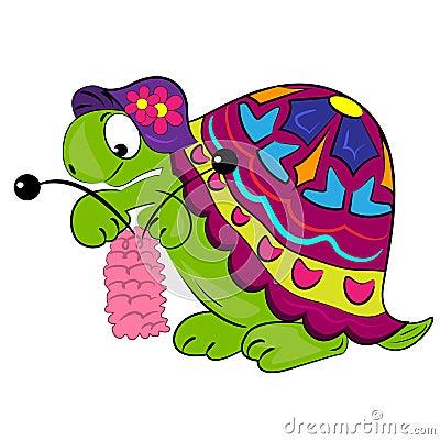 Cartoon Turtle Knitting. Animal Illustration Stock Photography - Image: 22588612