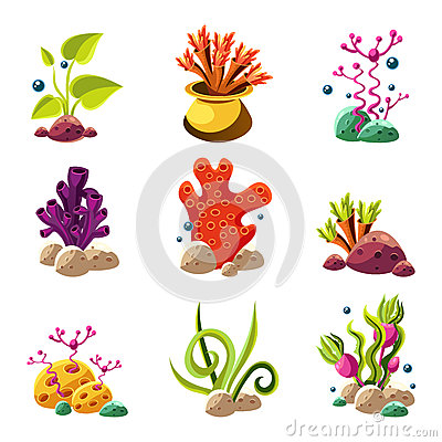 Free Cartoon Underwater Plants And Creatures Stock Images - 58894514