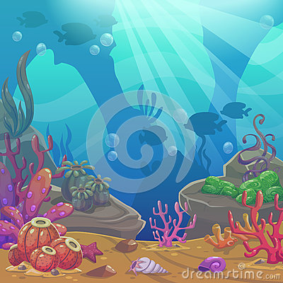 Free Cartoon Underwater Vector Illustration. Royalty Free Stock Images - 82830349