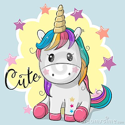 Free Cartoon Unicorn Isolated On A Gray Background Stock Photos - 113564333