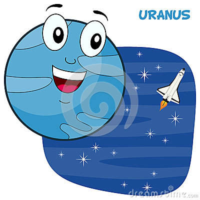 happy cartoon planet Uranus character smiling, on a blue outer space ... X Clipart