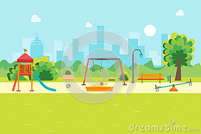 Cartoon Urban Park Kids Playground. Vector Vector Illustration