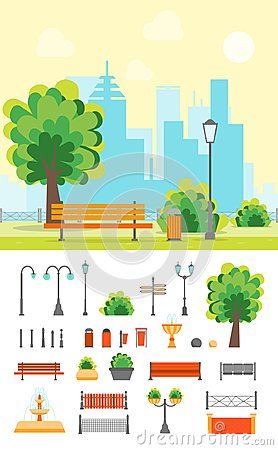 Free Cartoon Urban Park With Bench And Element Set. Vector Stock Image - 100110921
