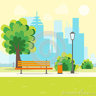 Free Cartoon Urban Park With Bench. Vector Stock Images - 89398154