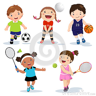 Free Cartoon Various Sports Kids On A White Background Stock Photo - 72378870
