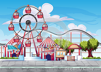 Cartoon vector amusement park with separated layers for game and animation Vector Illustration