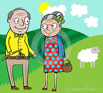 Happy old couple celebrate Easter