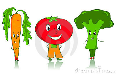 Cartoon vegetables characters.