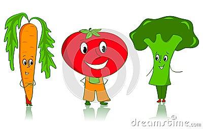 Cartoon vegetables characters.