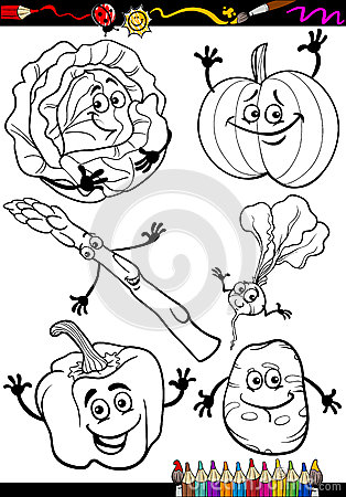 Cartoon Vegetables Set For Coloring Book Royalty Free