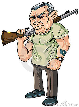 Cartoon Vietnam vet with a rifle