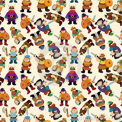 Cartoon vikings pirate seamless pattern