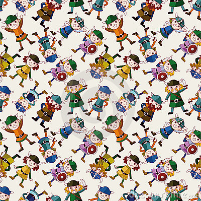 Cartoon vikings pirate seamless pattern