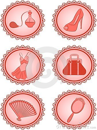 Free Cartoon Vintage Woman S Elements. Royalty Free Stock Photography - 20307187