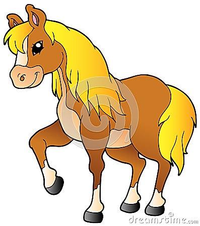 Cartoon walking horse