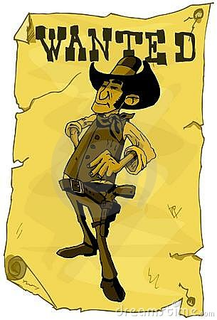 Cartoon wanted poster of a cowboy