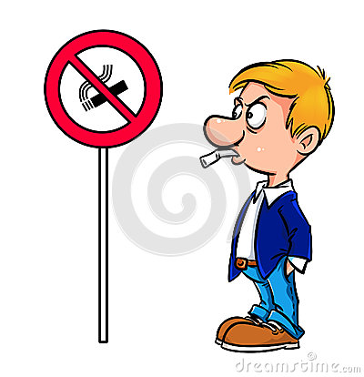 Cartoon warning man no smoking