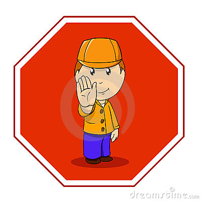 Cartoon warning sign stop with man in orange