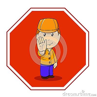Cartoon warning sign stop with man in orange