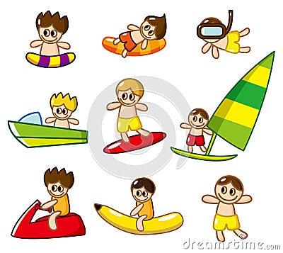 Cartoon water sport icon
