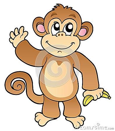 Free Cartoon Waving Monkey With Banana Stock Images - 17502544