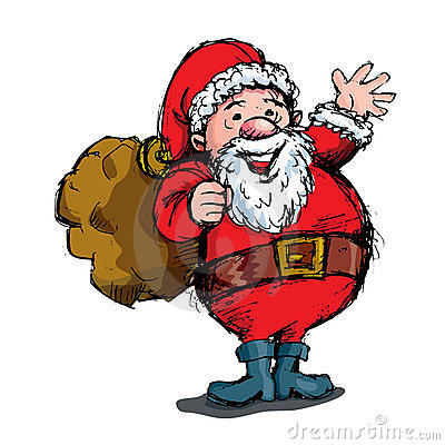 Cartoon waving Santa with bag