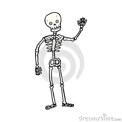 Stock Photo Cartoon Waving Skeleton Hand Drawn Illustration Retro Style Vector Available Image37037450 on Audio Production Group