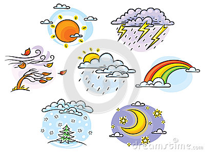 Cartoon weather set Vector Illustration